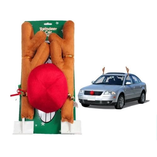Коледни еленски рога с нос за автомобил.