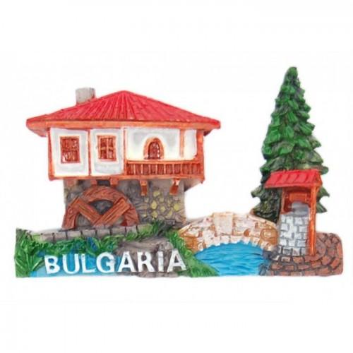 Магнитна фигурка във формата на старинна къща от Етъра с мелница, кладенец и мост