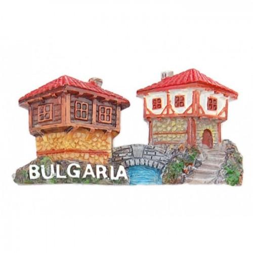 Магнитна фигурка във формата на старинни къщи от Етъра и мост