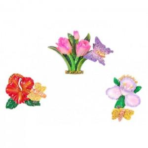 Магнитна фигурка с брокат - цвете с пеперуда върху пружина