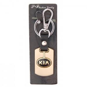 Ключодържател, изработен от кожа с метална пластина - Kia