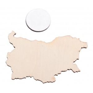 Лазерно рязан дървен елемент с магнит - карта на Република България