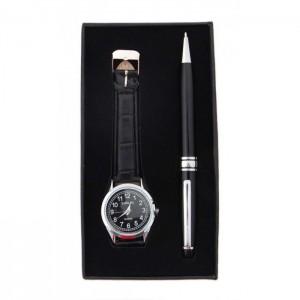Луксозен подаръчен комплект, включващ химикал и мъжки часовник