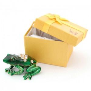 Стилно декорирана кутийка за бижута във формата на жаба - фаберже