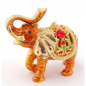 Кутия за бижута във формата на слон - фаберже, стилно декорирана с камъни и перла
