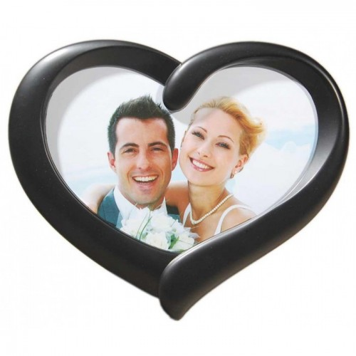 Стилна черна рамка за снимка във формата на сърце