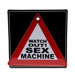 Забавна табелка във формата на предупредителен знак с картинки и надписи