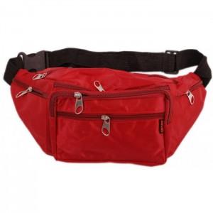 Мъжка чантичка текстил за кръст, с регулируем колан, джобове и цип