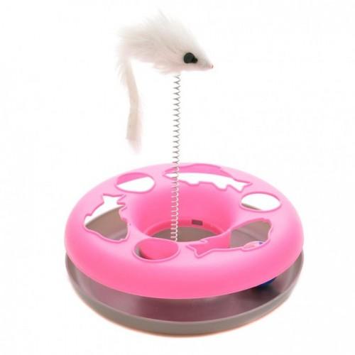 Занимателна играчка за котка - мишка на пружина и топче