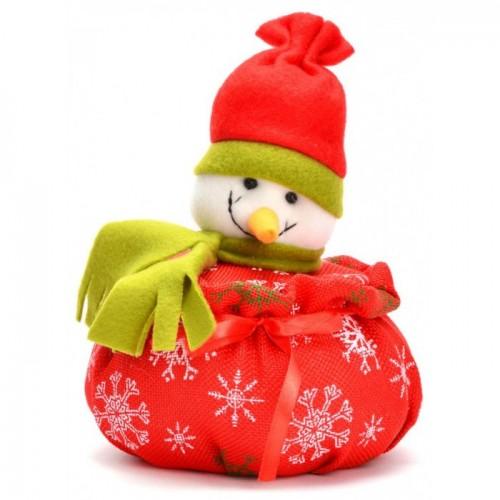 Коледна кошничка със снежен човек върху капака, подходяща за тематична декорация