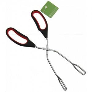 Щипка за скара тип ножица с двуцветна ергономична дръжка