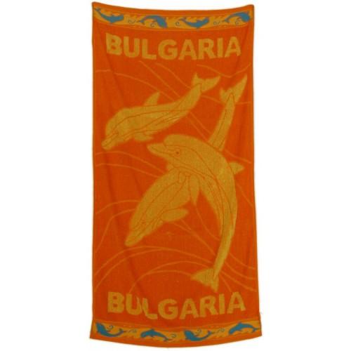 Плажна кърпа с делфини в оранжево-100% памук