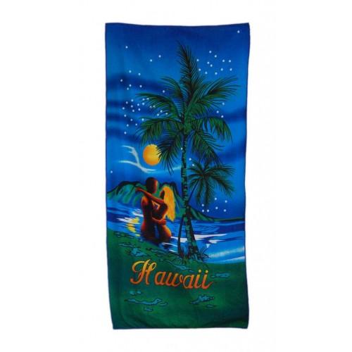 Плажна кърпа – палми и влюбена двойка в морето с надпис Хавай