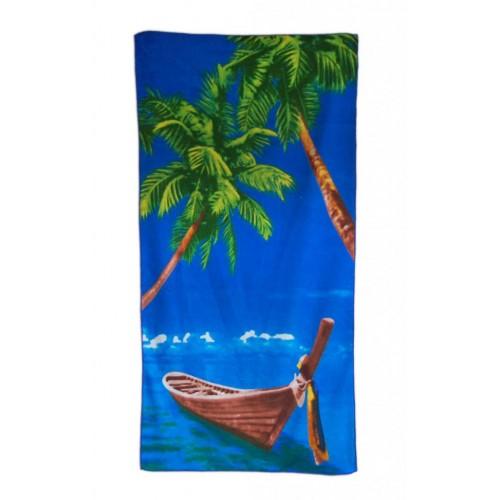 Плажна кърпа - палми и лодка в морето