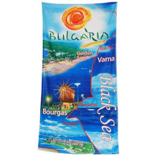 Сувенирна плажна хавлия със снимки от българското Черноморие