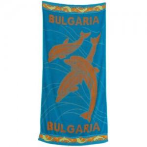 Плажна кърпа с делфини в синьо-100% памук