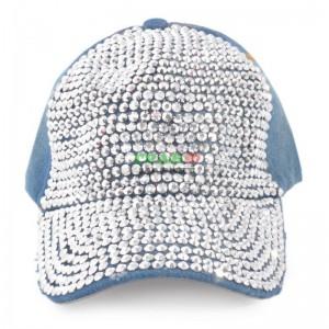 Лятна спортна шапка с козирка, декорирана с бели камъни