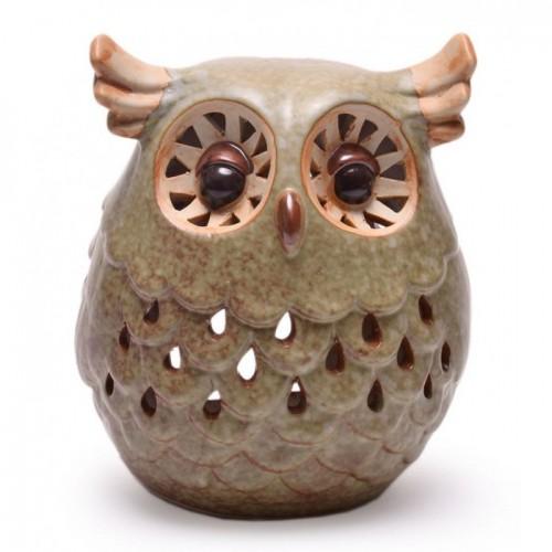 Красив керамичен свещник във формата на бухал