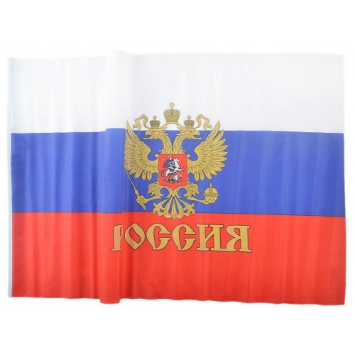 Знаме на Русия с герб и дръжка 90/145 см.