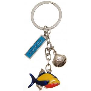 Метален ключодържател с  цветна фигурка - рибка