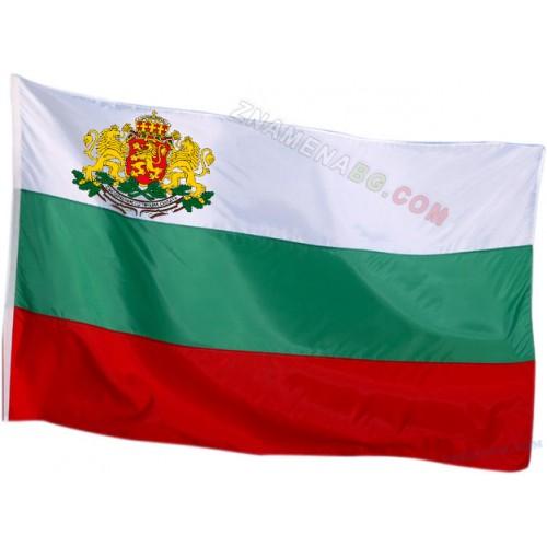 Българско знаме с везан(бродиран) герб 90х150 см.