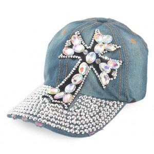 Спортна лятна шапка от дънков плат с козирка, декорирана с кръст и бели камъни
