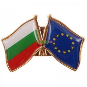 Значка със знамена - България и Европейския съюз