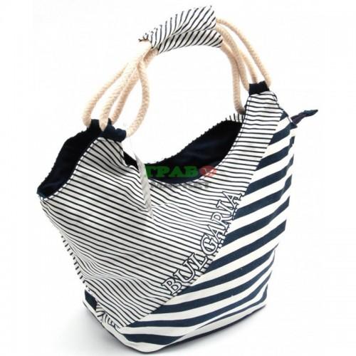 Лятна чанта текстил - черно и бяло