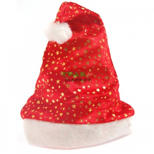 Коледна шапка декорирана с брокатени звездички