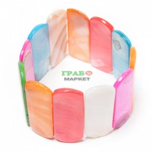 Седефена гривна от плочки на ластична основа
