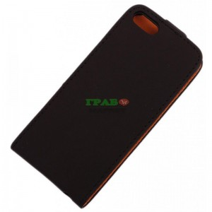 Калъф с капак за телефон iPHONE 5, изработен от изкуствена кожа