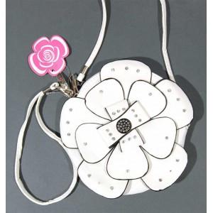 Чантичка във формата на цвете, инкрустирана с камъчета - изкуствена кожа