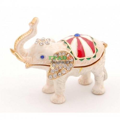 Декоративна кутийка изработена от метал за бижута във формата на слон - фаберже