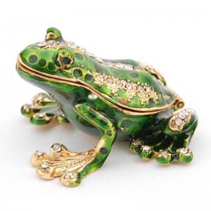Декоративна кутийка изработена от метал за бижута във формата на жаба - фаберже