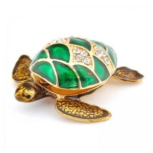 Декоративна кутийка за бижут от метал във формата на костенурка - фаберже