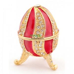 Декоративна кутийка изработена от метал за бижута във формата на яйце - фаберже
