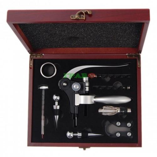 Комплект за вино от 9 части в луксозна дървена кутия