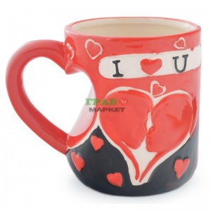 Чаша изработена от керамика с надпис I ♥ U