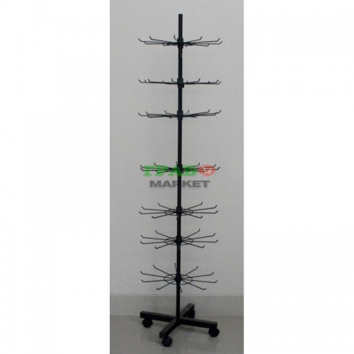 Черен стелаж изработен от метал на седем етажа тип въртележка