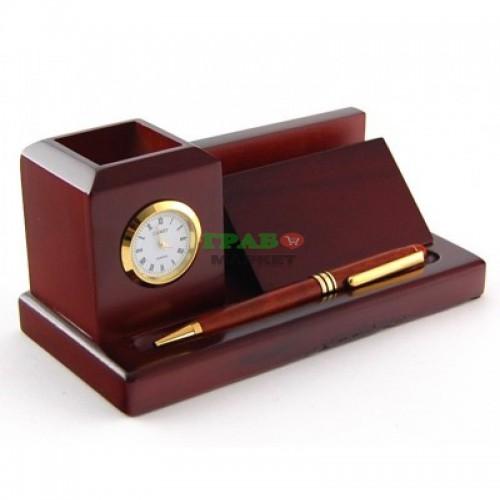 Луксозен комплект за бюро изработен от дърво, включващ - визитник, писалка и поставка за химикали с часовник