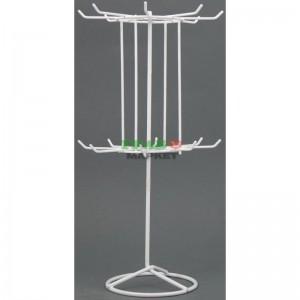 Стелаж тип въртележка изработен от метал с два свързани етажа с по 8 куки.