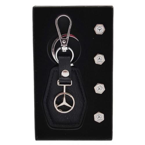 Комплект автомобилен ключодържател и 4бр. капачки за винтили на Mercedes.