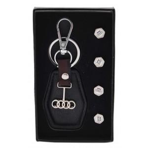 Комплект автомобилен ключодържател и 4бр. капачки за вентили - Audi