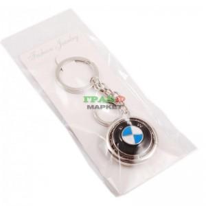Кръгъл автомобилен ключодържател декориран с бели камъни с емблема на BMW