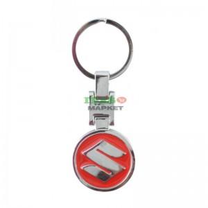 Автомобилен ключодържател на Suzuki с кръгла червена емблема (метален)